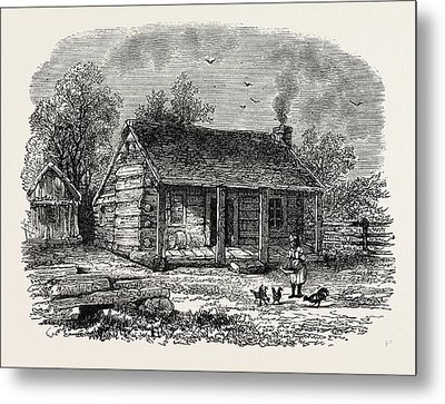 Early Home Of Abraham Lincoln Metal Print by American School