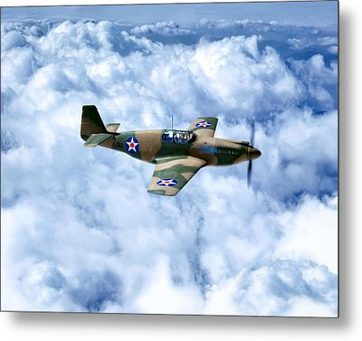 Early Model P-51 Mustang Fighter Plane - World War II Metal Print by Mark Tisdale