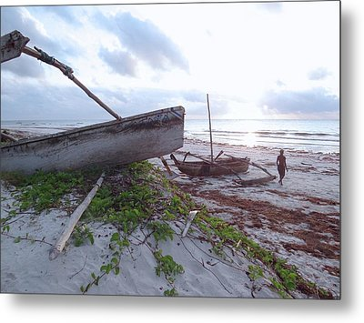 early morning African fisherman and wooden dhows Metal Print