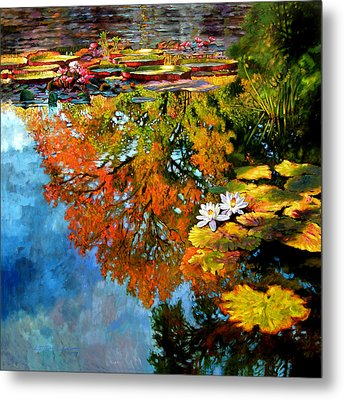 Early Morning Fall Colors Metal Print by John Lautermilch