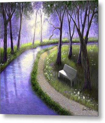 Metal Print featuring the painting Early Morning In The Park by Sena Wilson
