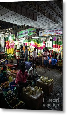 Metal Print featuring the photograph Early Morning Koyambedu Flower Market India by Mike Reid