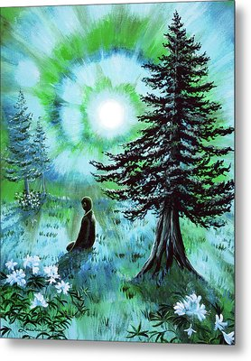 Early Morning Meditation In Blues And Greens Metal Print by Laura Iverson