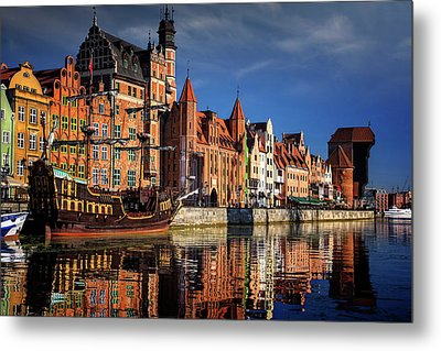 Early Morning On The Motlawa River In Gdansk Poland Metal Print