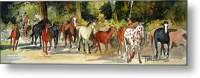 Early Morning Roundup Metal Print by Trish McKinney