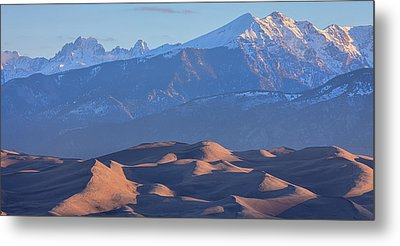Early Morning Sand Dunes And Snow Covered Peaks Metal Print by James BO Insogna