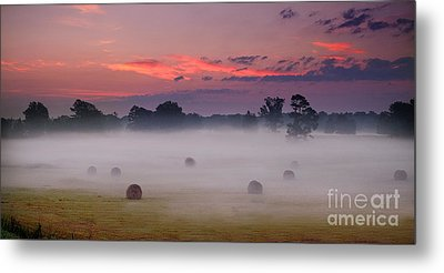 Early Morning Sunrise On The Natchez Trace Parkway In Mississippi Metal Print by T Lowry Wilson