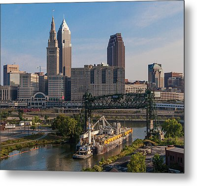 Early Morning Transport On The Cuyahoga River Metal Print