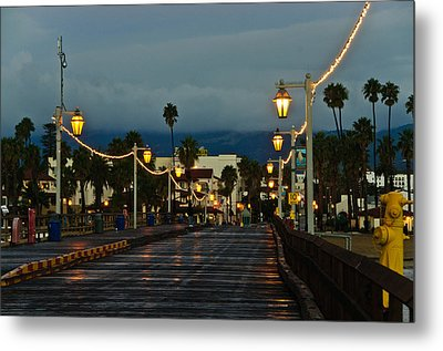 Early Morning Walk On Stearn's Pier Metal Print by Connie Cooper-Edwards