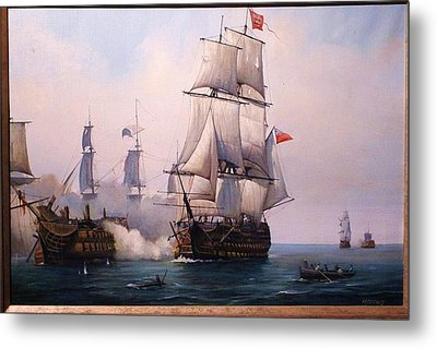 Metal Print featuring the painting Early Painting Of The Battle Of Trafalgar. by Mike Jeffries