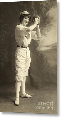 Early Portrait Of A Woman Baseball Player Metal Print