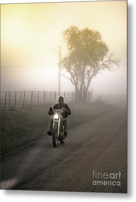 Early Rider In Fog Metal Print by Robert Frederick