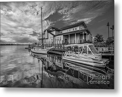 Early Sailing - Black And White Metal Print by Mina Isaac