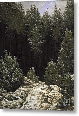 Early Snow Metal Print by Caspar David Friedrich
