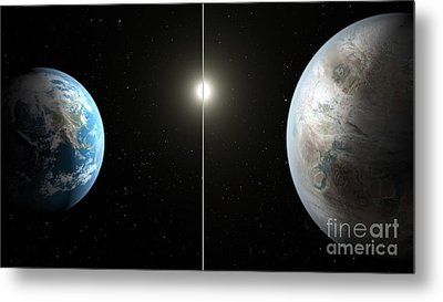 Earth And Exoplanet Kepler-452b Metal Print