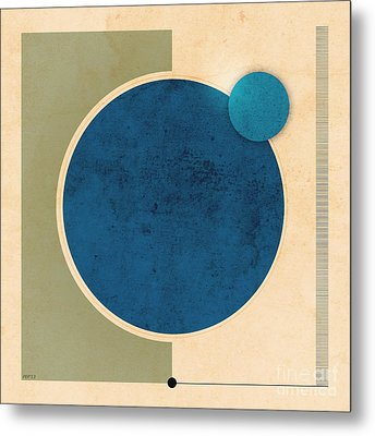 Earth And Moon Graphic Metal Print by Phil Perkins