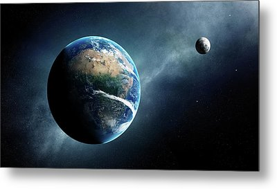 Earth And Moon Space View Metal Print