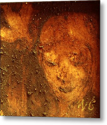 Metal Print featuring the painting Earth Face by Winsome Gunning