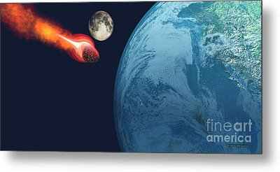 Earth Hit By Asteroid Metal Print by Corey Ford