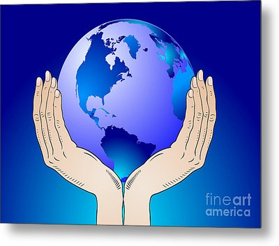 Earth In The Your Hands Metal Print by Michal Boubin