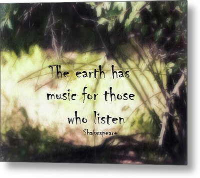 Earth Music Shakespeare Quote Metal Print by Ann Powell