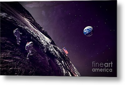 Metal Print featuring the digital art Earth Rise On The Moon by Methune Hively