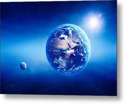 Earth Sunrise Deep Space Metal Print