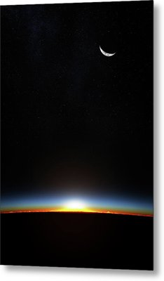 Earth Sunrise Through Atmoshere Metal Print by Johan Swanepoel