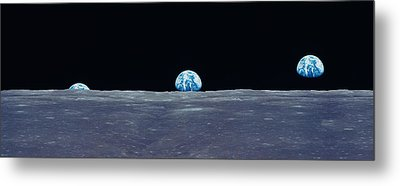 Earth Viewed From The Moon Metal Print by Panoramic Images