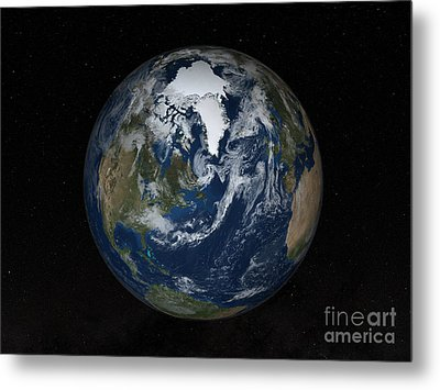 Earth With Clouds And Sea Ice Metal Print