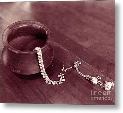 Metal Print featuring the photograph Earthen Pot And Silver by Mukta Gupta