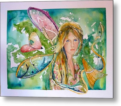 Metal Print featuring the painting Earthly Butterfly by P Maure Bausch