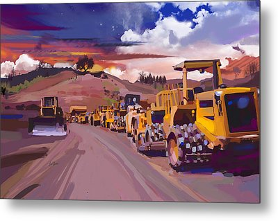 Earthmover Dawn Metal Print by Brad Burns