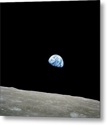 Earthrise Over Moon, Apollo 8 Metal Print by Nasa
