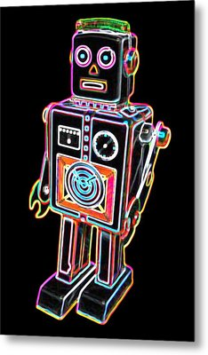 Easel Back Robot Metal Print by DB Artist