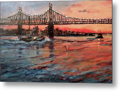 East River Tugboats Metal Print by Peter Salwen