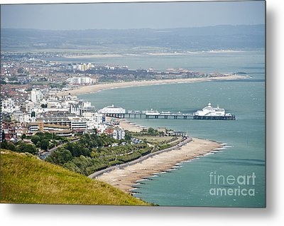 Eastbourne From Beachy Head Sussex Uk Metal Print by Donald Davis