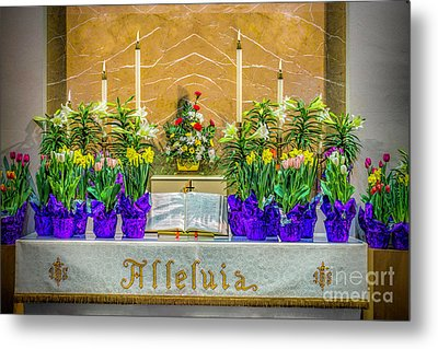 Metal Print featuring the photograph Easter Alter And Flowers by Nick Zelinsky