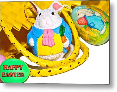 Easter Bunnies And Baskets Metal Print