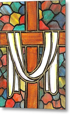 Metal Print featuring the painting Easter Cross 6 by Jim Harris