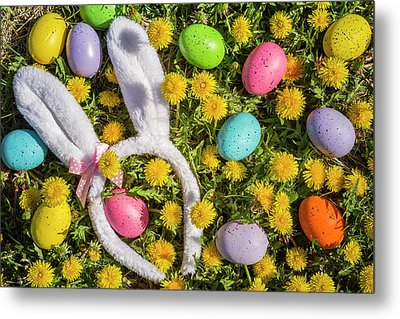 Metal Print featuring the photograph Easter Eggs And Bunny Ears by Teri Virbickis