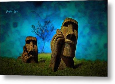 Easter Island - Da Metal Print by Leonardo Digenio