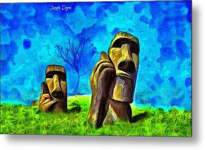 Easter Island - Van Gogh Style - Pa Metal Print by Leonardo Digenio