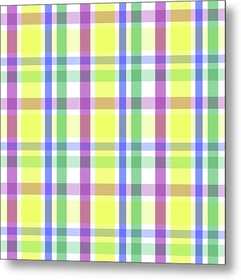 Metal Print featuring the digital art Easter Pastel Plaid Striped Pattern by Shelley Neff