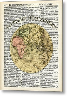 Eastern Hemisphere Earth Map Over Dictionary Page Metal Print by Jacob Kuch