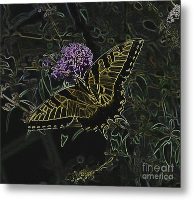 Eastern Tiger Swallowtail Butterfly - Neon Glow Metal Print by Scott D Van Osdol