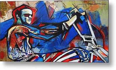 Metal Print featuring the painting Easy Rider Captain America by Eric Dee