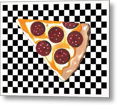 Metal Print featuring the mixed media Eat Pizza by Kathleen Sartoris
