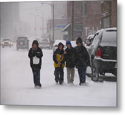 Eating Doughnuts In The Snowstorm Metal Print by Don Wolf