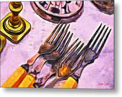 Eating In Old Style - Da Metal Print by Leonardo Digenio